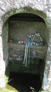 The holy spring at St. Clether's still dressed as it would have been in Celtic times.