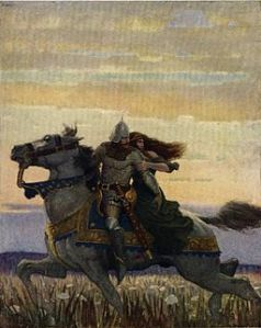 Lancelot and Guinevere riding to Joyous Gard  by N.C. Wyeth (Source: Wikimedia Commons)