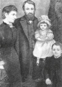 Canning Woodhull and family; wife Victoria, daughter Zula and son Byron (Portrait, probably 1856)