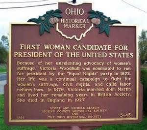 Historical marker in Victoria's home town of Homer, Ohio.