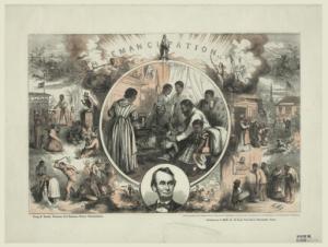 Abolition of Slavery by Thomas Nast (1840-1902), Umpehent, J. W. (Bibliothèque numérique mondiale) [Public domain], via Wikimedia Commons