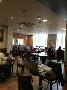 The second floor cafe at Blackwell's where Diana met with Agatha